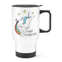 Unicorn I Poop Rainbows Travel Mug Cup With Handle - Funny Thermal Flask