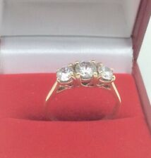 9ct Gold ring set with 3 brilliant Cubic Zirconia stones size O