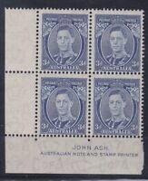 APD183) Australia 1938 3d Blue Die II Thin paper Ash Imprint Block ACSC 194Aza