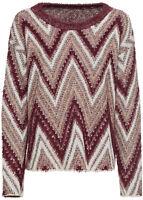 Versatile Ivory,Maroon and Gold Metallic Chevron Stripe Waist length Knitwear