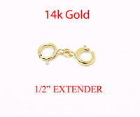 """1/2"""" 14k Solid  Yellow Gold  Round Link Extender Safety Chain Necklace Bracelet"""