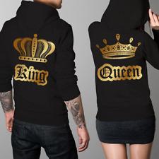Felpe di coppia King & Queen Oro con Cappuccio, Fidanzati, Regalo San Valentino