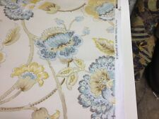 Duralee Ellison natural/blue printed cotton fabric by the yard pillow drapery