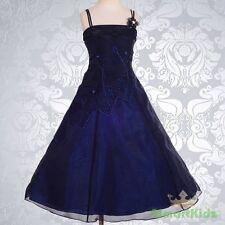 Dark Blue Wedding Flower Girl flowergirl Party Dress Size 6 FG188