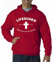 LIFEGUARD HOODIE MINE WALKS ON WATER CHRISTIAN CHRIST JESUS HOODY LIFE GUARD Red