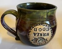 GOOD VIBES VtG Studio Art POtteRy CoFFee Mug Cup Green Purple Glaze Drip Signed