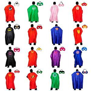 Adult Superhero Cape & Mask Set Super Hero Costume Party Batman Superman Thor