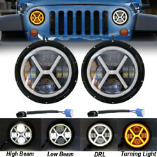 2x 7 Inch Round LED Headlight Halo Angle Eyes For Jeep 97-2017 Wrangler JK LJ TJ