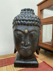 Hand Carved Wooden Buddha Head/bust Large At 34cms Tall Vintage Spiritual Decor