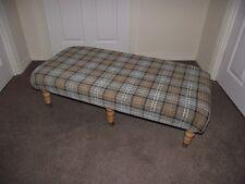 New Lana pale green tartan foot stool xl coffee table footstool light castor leg