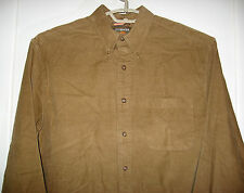 G H Bass Corduroy Shirt Mens Size MEDIUM Rich Caramel Brown Casual Wear