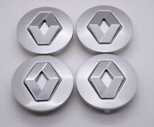4x57mm RENAULT Grey Silver Wheel Center Caps Logo Emblem Badge Hub Caps Rim Caps