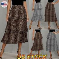 Women's leopard Print Layered Ruffle Hem Bottom Dress Calf-length A-line Skirt