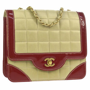 CHANEL Choco Bar Quilted Double Chain Shoulder Bag Beige Red Leather S09327g