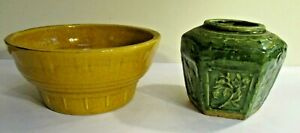 Haeger Yellow bowl #33 and Mystery Vase