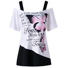 mujer camiseta letra Impresa xl-5xl TALLA GRANDE HOMBROS DESCUBIERTOS Mariposa