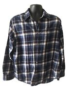 Eddie Bauer Mens Plaid Flannel Shirt Size L Blue Long Sleeve Button Front Cotton
