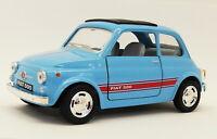 Fiat 500 - Light Blue - Kinsmart Pull Back & Go Metal Model Car