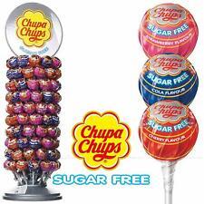Chupa Chups Sugar Free Cola Cherry Strawberry Wheel Stand Carousel 120 Lollipops