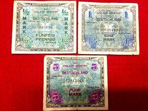 Authentic Rare Military Occupation German 1944 Bills - Half, One, & Five Mark