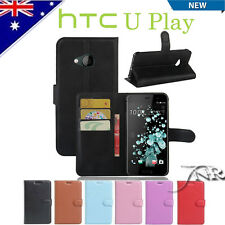 PU Leather Wallet Case TPU Cover For HTC U Play + Screen Protector