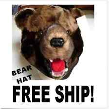 BROWN BEAR HAT grizzlies cub US SHiP scout grizzly HALLOWEEN costume ADULT plush