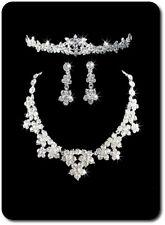 Komplett Set Halskette Ohrringe Tiara Krone Schmuckset Hochzeit Braut Kristall