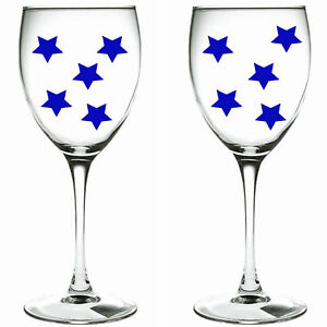 90 x blue stars / stars WINE GLASS VINYL STICKERS / DECAL xmas