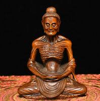 Chinese Buddhism Boxwood Wood Carving Skinny Arhat ascetic monk Buddha Statue