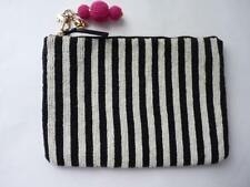 KATE SPADE BLACK WHITE  STRIPES BEADED CLUTCH BAG