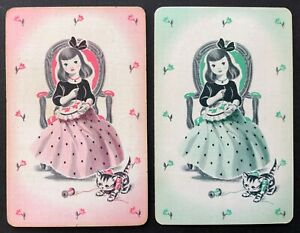 Pair of Vintage Swap/Playing Cards - SWEET LITTLE LADIES WITH KITTENS