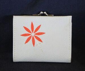 vintage MISS BUXTON leather coin purse wallet cream orange flower