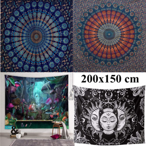 Mandala Indisch Tapisserie Wandteppich Wandbehänge Bettdecke Strandtuch Dekor DE