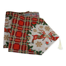 """Extra Long Christmas Dining Table Runner in Plaid Reindeer 13.5"""" x 84"""""""
