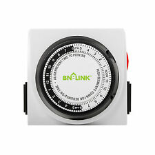 BN-LINK Dual Outlet 15 minutes to 24 Hour Heavy Duty Mechanical Timer Plug-in US