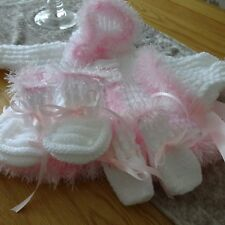 Hand Knitted Baby Girl's Hooded Jacket, Hat, Mitts & Bootees 3-6 months size