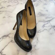 Ann Taylor Snakeskin Heels Pumps Black Leather Women's Size 6M
