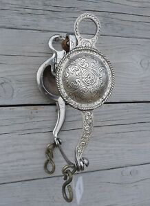 Vintage Fleming Sterling Silver HUGE Concho Half Breed Curb Bit 23727