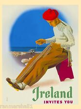 Ireland Invites You Irish Great Britain Vintage Travel Advertisement Art Poster