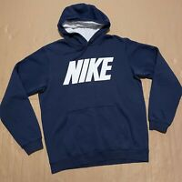 Men's Y2K Blue Tag Navy Nike Pullover Hoodie with Printed Spellout Logo Size M
