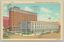 Huffington West Virginia~United States Post Office~1940s Linen Postcard