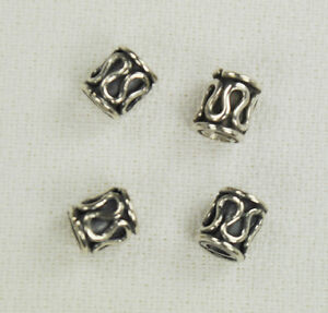8 Pcs Sterling Silver Bali 5x6mm Tube Beads Drum .925 Spacers Cylinder Bead 2261