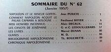 REVUE DE L'INSTITUT NAPOLEON 1957 No 62 MINEUR GOFFIN PALAIS CAPRARA à BOLOGNE