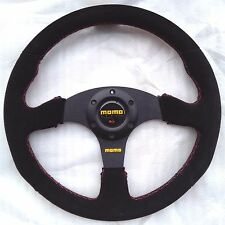 350mm Black Suede Leather Steering Wheel Flat MOMO Racing OMP Rally Red Stitch