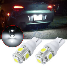 2x 5-SMD T10 168 2825 194 LED License Plate Light Bulbs Lamps 6000K Bright White