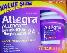 Allegra Allergy Adult 24 Hour Non Drowsy 70 Tablets Fexofenadine HCl 180mg