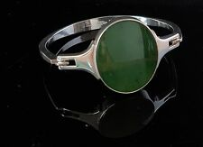 Danish silver bangle set with oval flat Jade and made by N.E.From