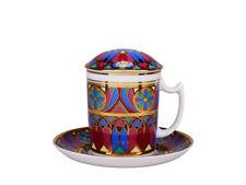RUSSIAN Imperial Lomonosov Porcelain Mug, Saucer, Lid - Gothic 7. 22k Gold