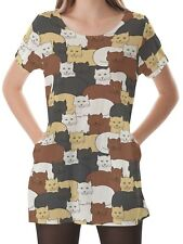 Cats Women Scoop Neckline Pockets Top Shirt Blouse b16 acr02751