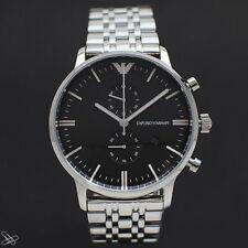 Emporio ARMANI Herrenuhr AR0389 Chronograph Edelstahl Farbe: Silber Schwarz